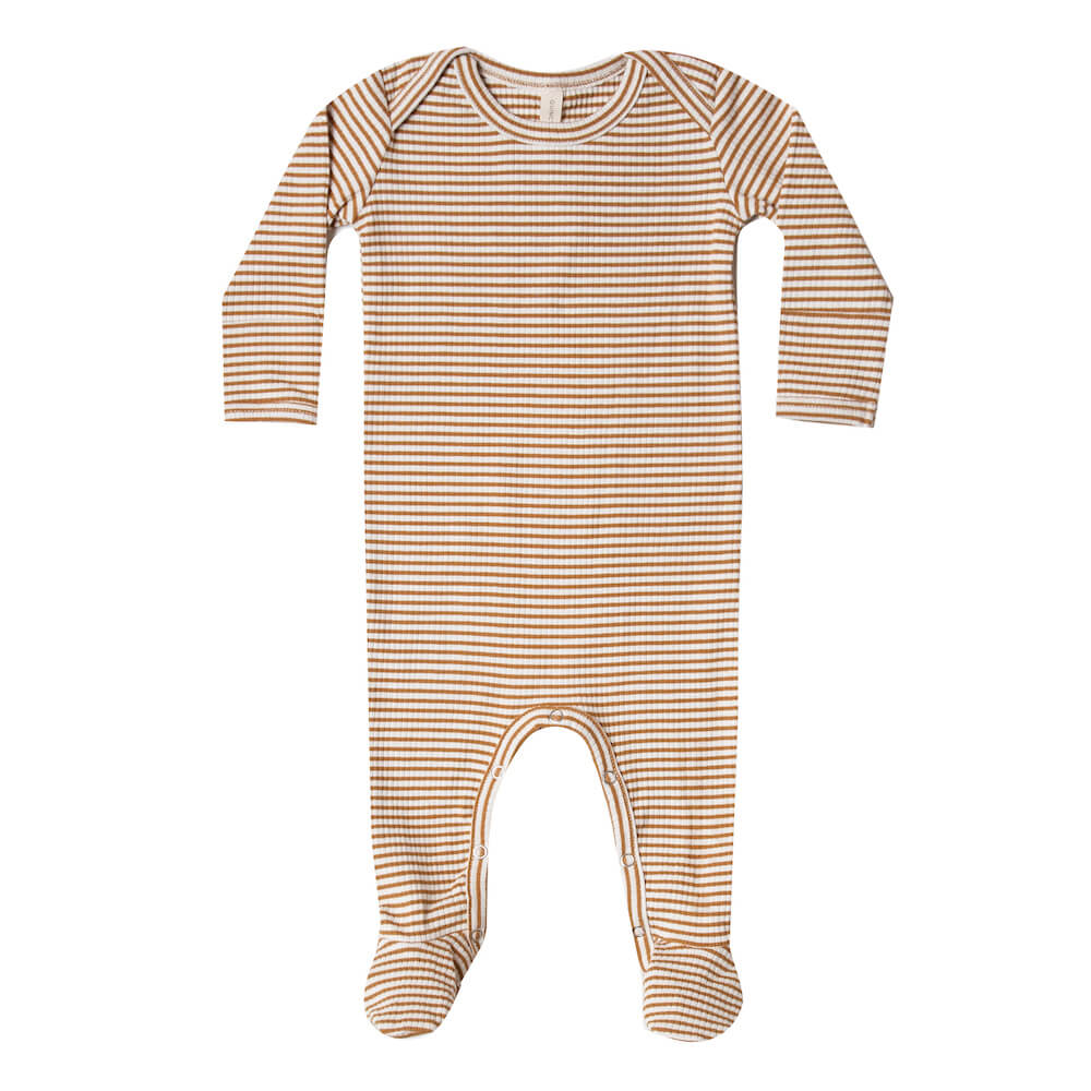 Quincy Mae Ribbed Footie Walnut Stripe | Tiny People