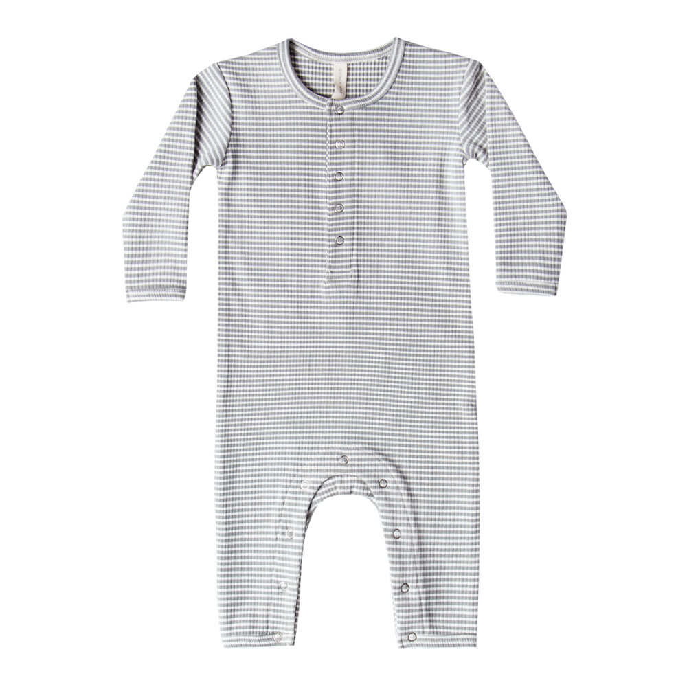 Quincy Mae Ribbed Baby Jumpsuit Eucalyptus Stripe | Tiny People