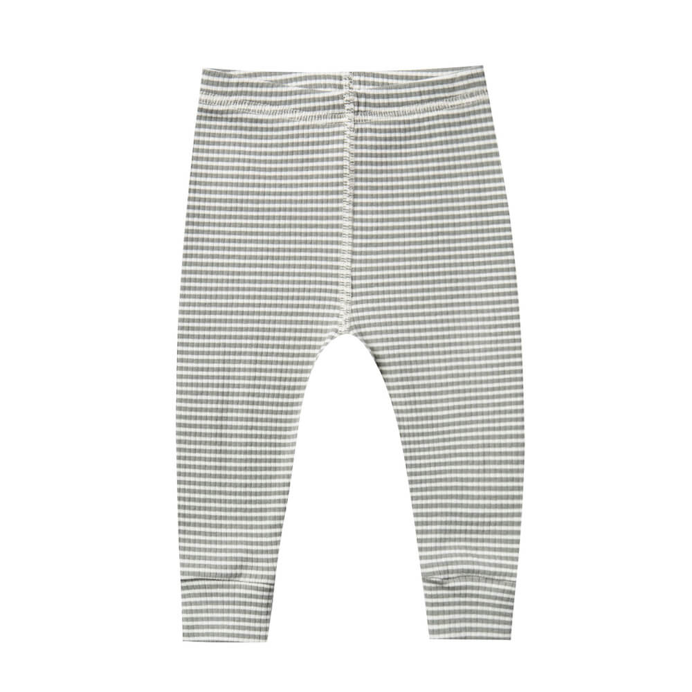 Quincy Mae Ribbed Leggings Eucalyptus Stripe | Tiny People