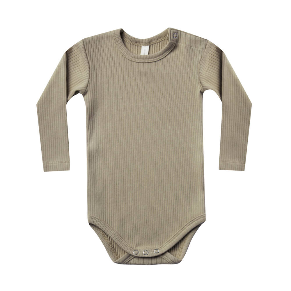 Quincy Mae Ribbed Longsleeve Onesie Olive | Tiny People