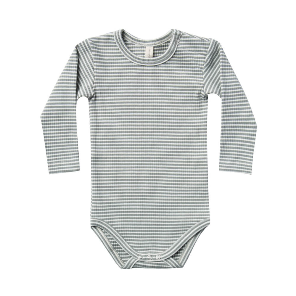 Quincy Mae Ribbed Longsleeve Onesie Eucalyptus Stripe | Tiny People