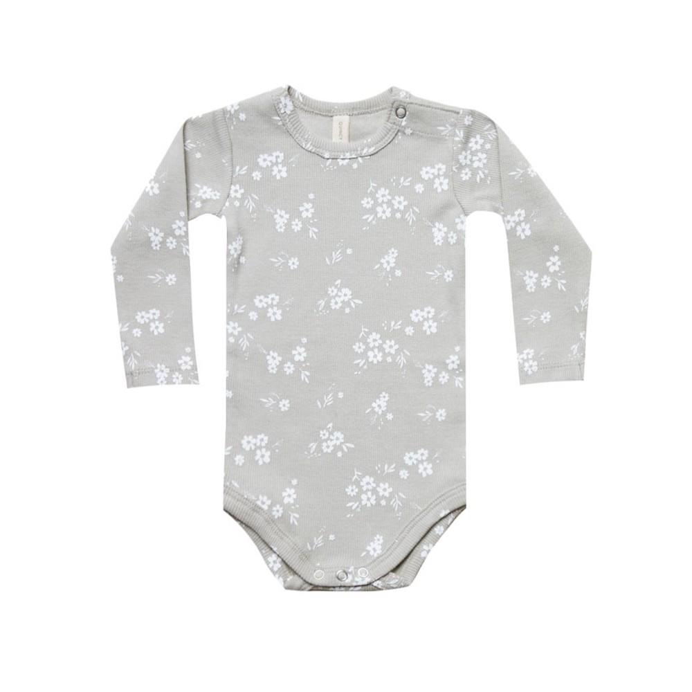 Ribbed Long Sleeve Onesie Ash
