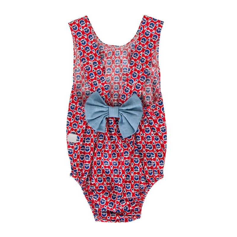 Anais Playsuit Retro Red Floral
