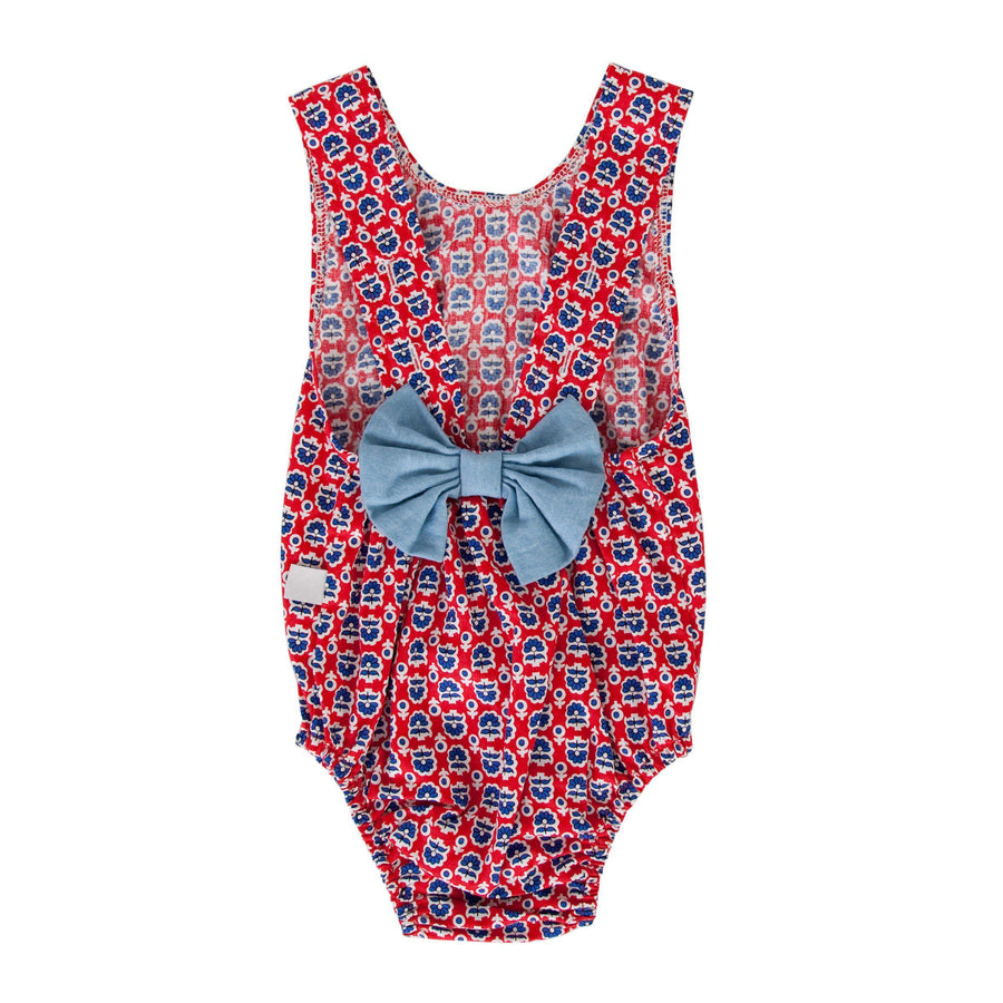 Peggy Anais Playsuit for baby girls in Retro Red Floral at Tiny People Shop Australia.