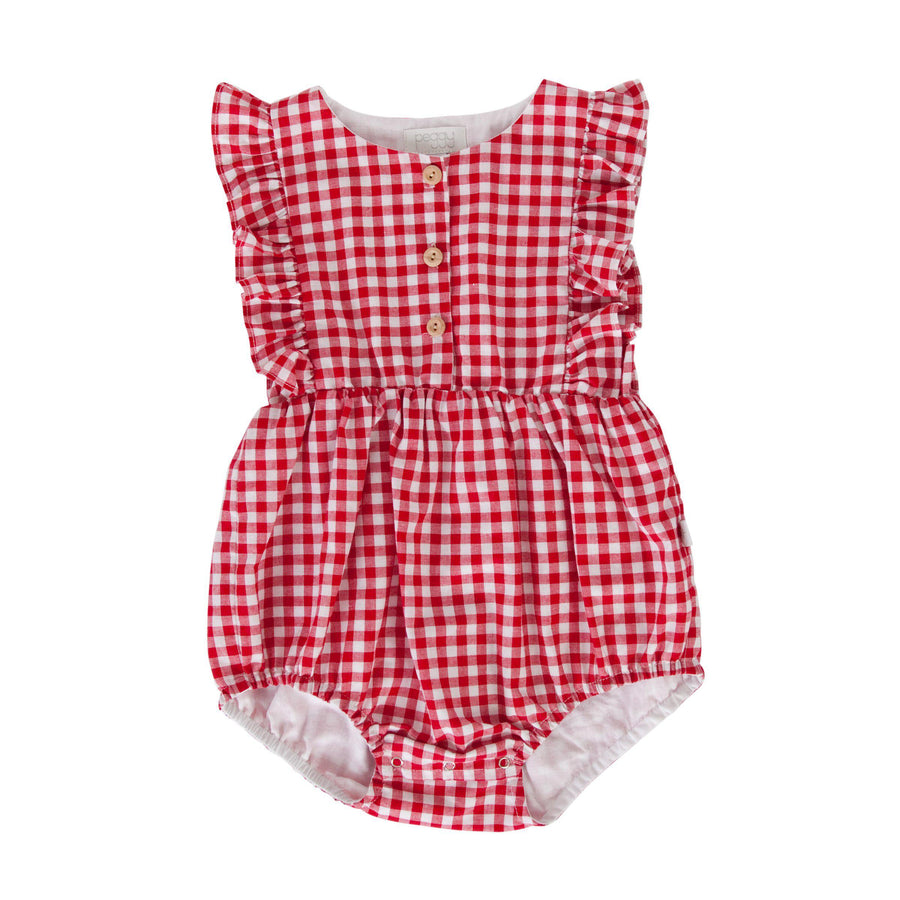 August Playsuit - Red Check Gingham