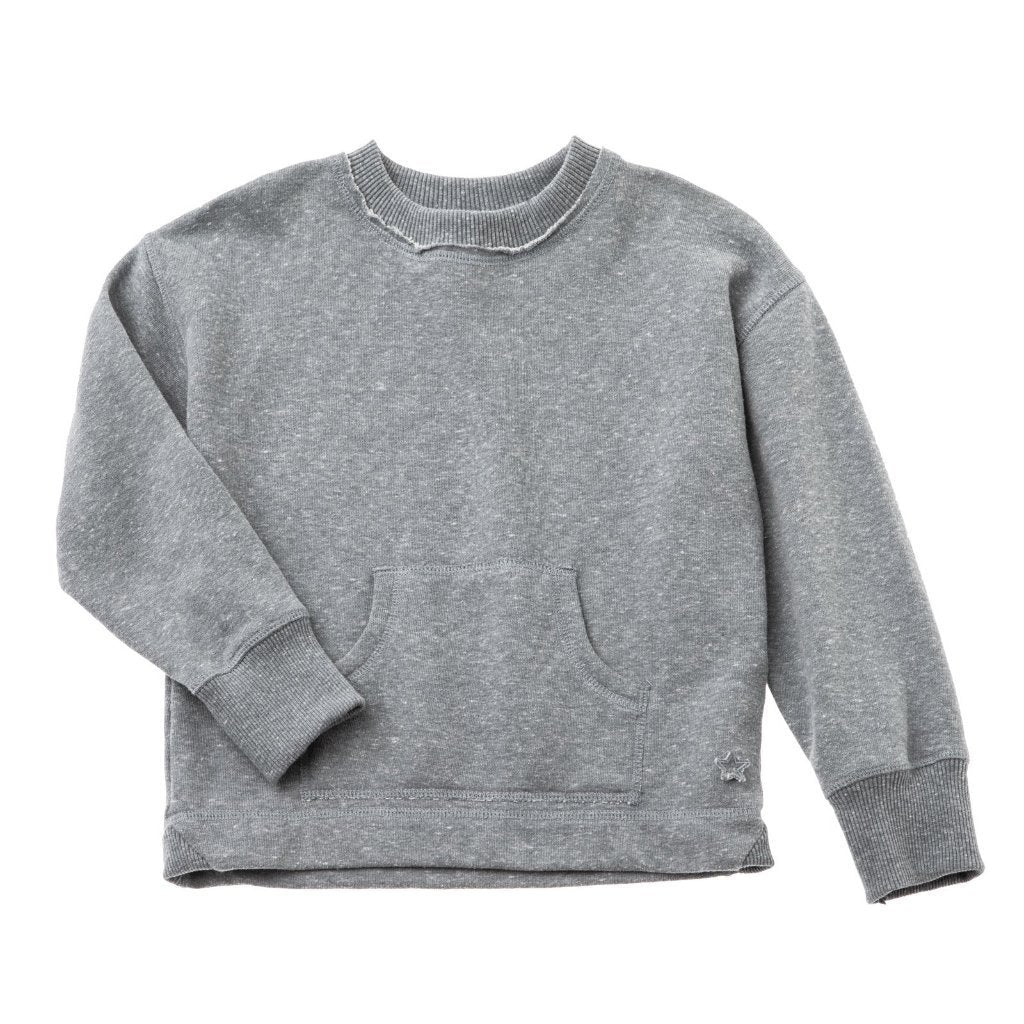 Tocoto Vintage Kangaroo Pocket Sweater Grey Tops & Tees - Tiny People Cool Kids Clothes