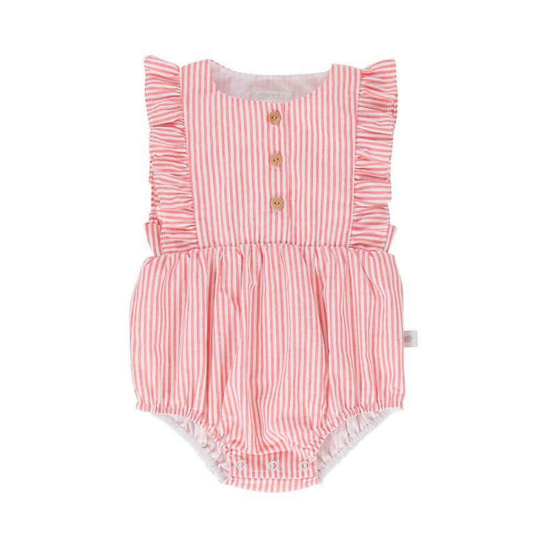 August Playsuit Red White Pinstripe
