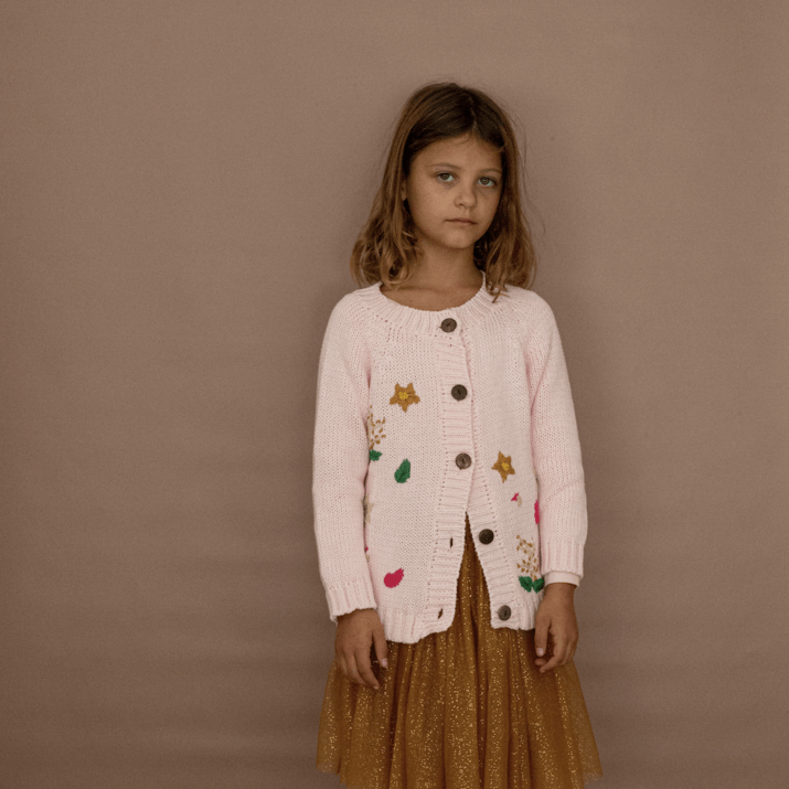 Bella & Lace Botanical Garden Cardigan Milk Shake | Tiny People