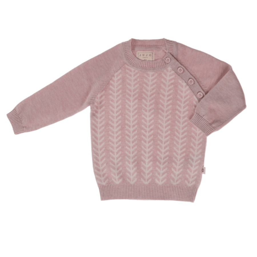 Jujo Baby Feathered Line Jumper - Blush Pink / Ecru - Tiny People Cool Kids Clothes Byron Bay
