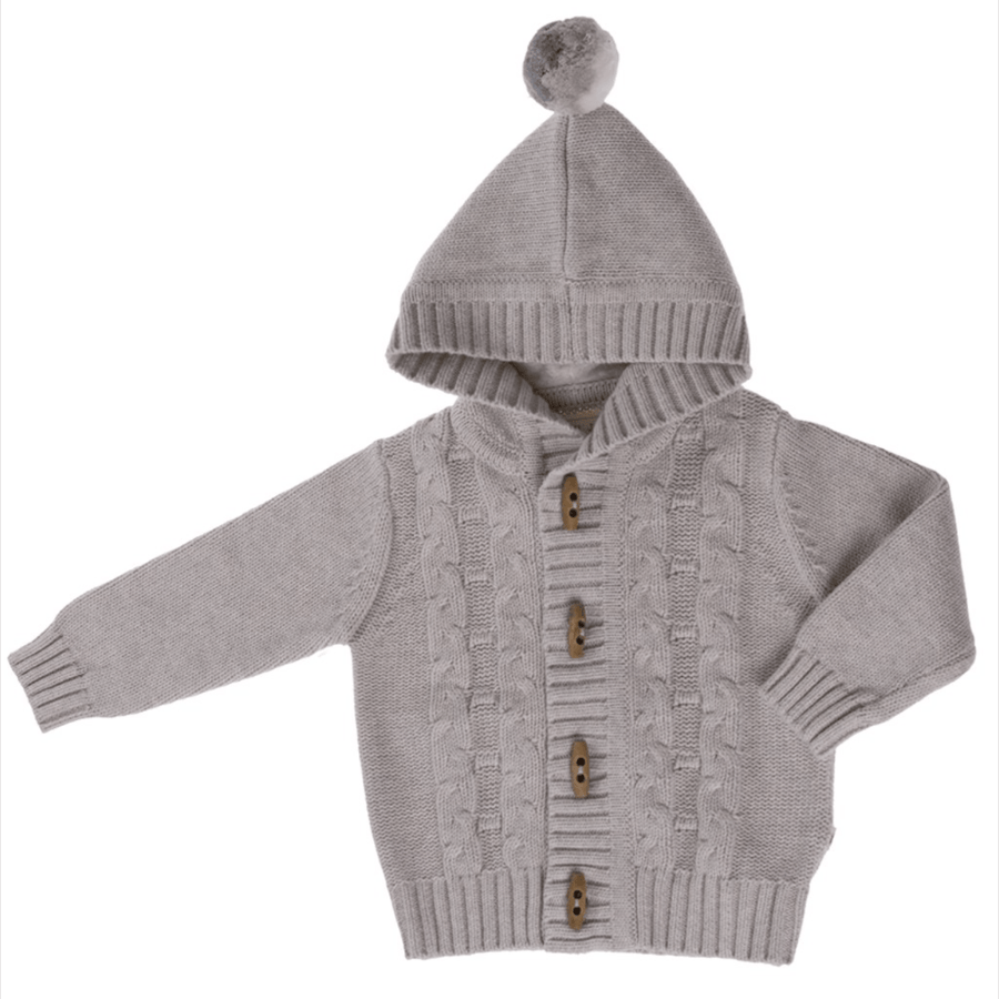 Jujo Baby Cable Knit Jacket - Silver - Tiny People Cool Kids Clothes Byron Bay