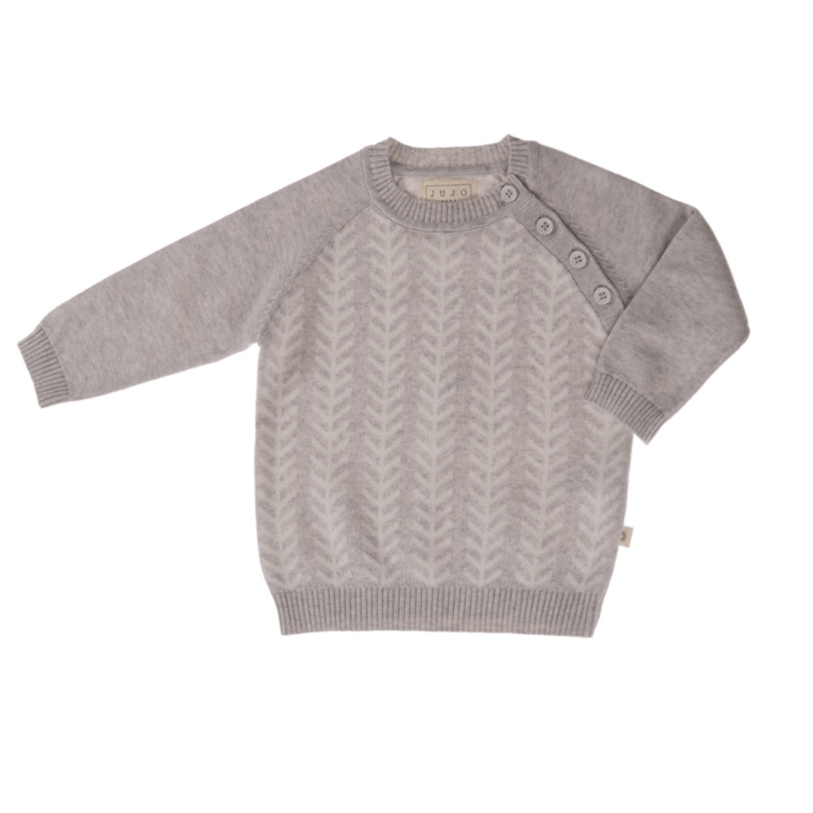 Jujo Baby Feathered Line Jumper - Silver / Ecru - Tiny People Cool Kids Clothes Byron Bay