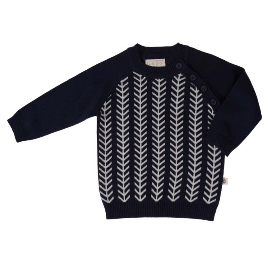Jujo Baby Feathered Line Jumper - Navy / Ecru - Tiny People Cool Kids Clothes Byron Bay