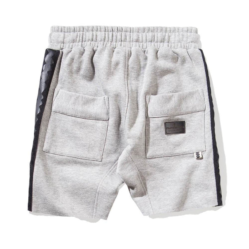 Munster Kids Shark Fleece Shorts Grey Marle Shorts - Tiny People Cool Kids Clothes