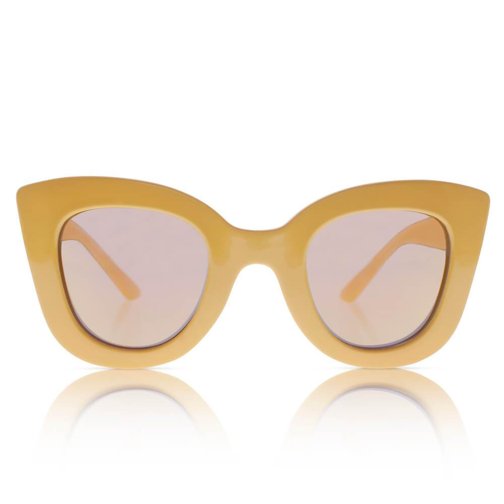 Sons + Daughters Eyewear Cat Cat (Schoolbus Yellow w/ Mirror) Sunglasses - Tiny People Cool Kids Clothes