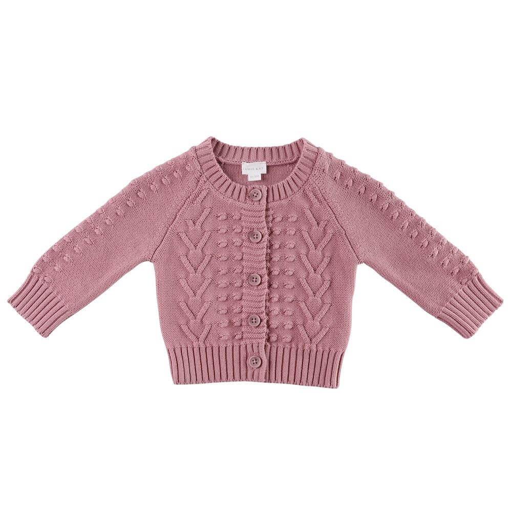Jamie Kay Cable Cardigan Plum | Tiny People Australia Online