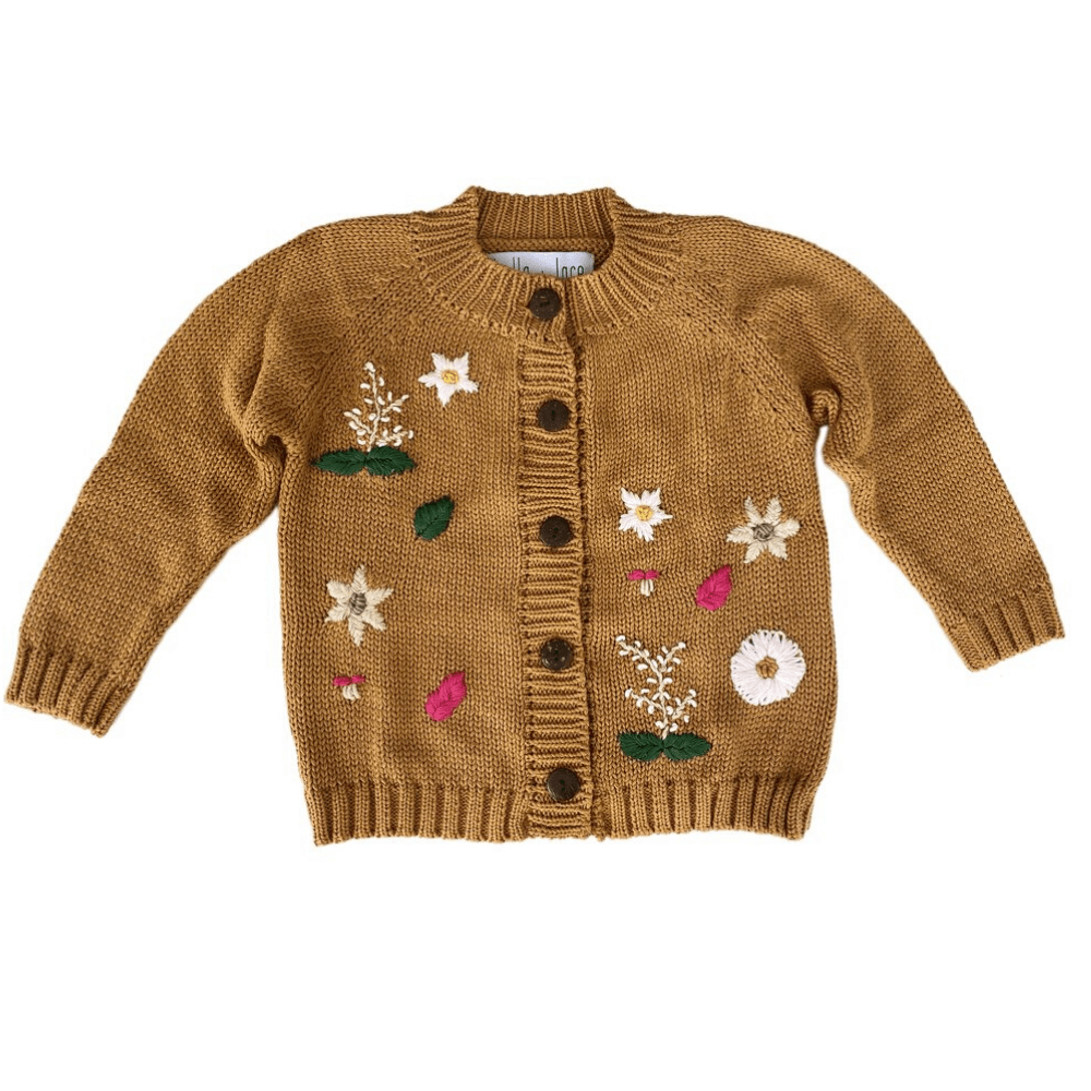 Bella & Lace Botanical Garden Cardigan Butter Chicken | Tiny People