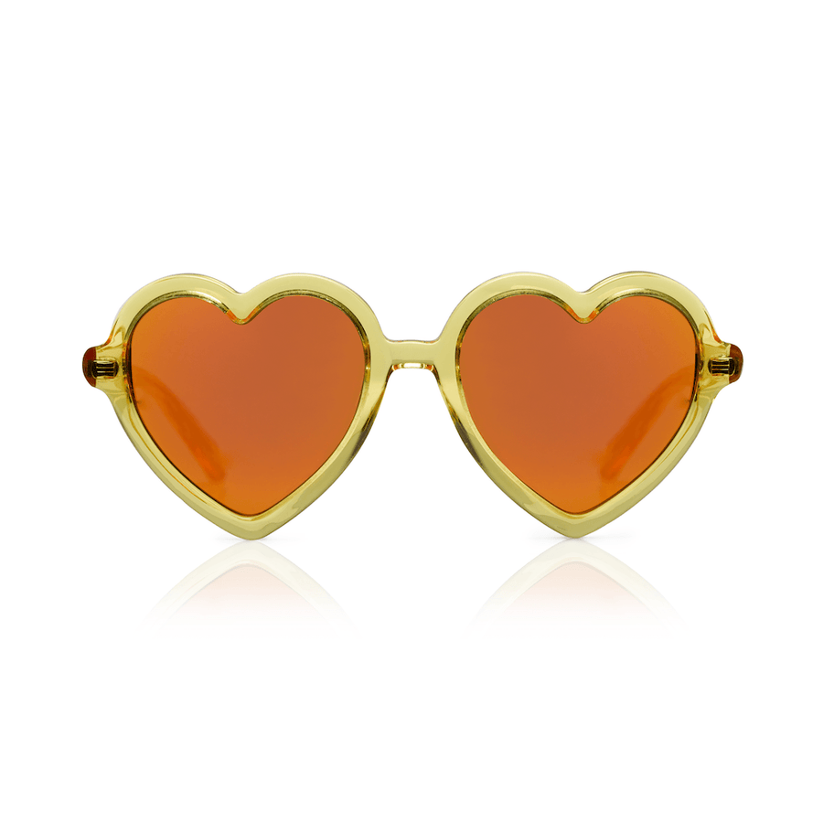 Sons + Daughters Lola heart sunglasses in Yellow Jelly at Tiny People Shop Australia.