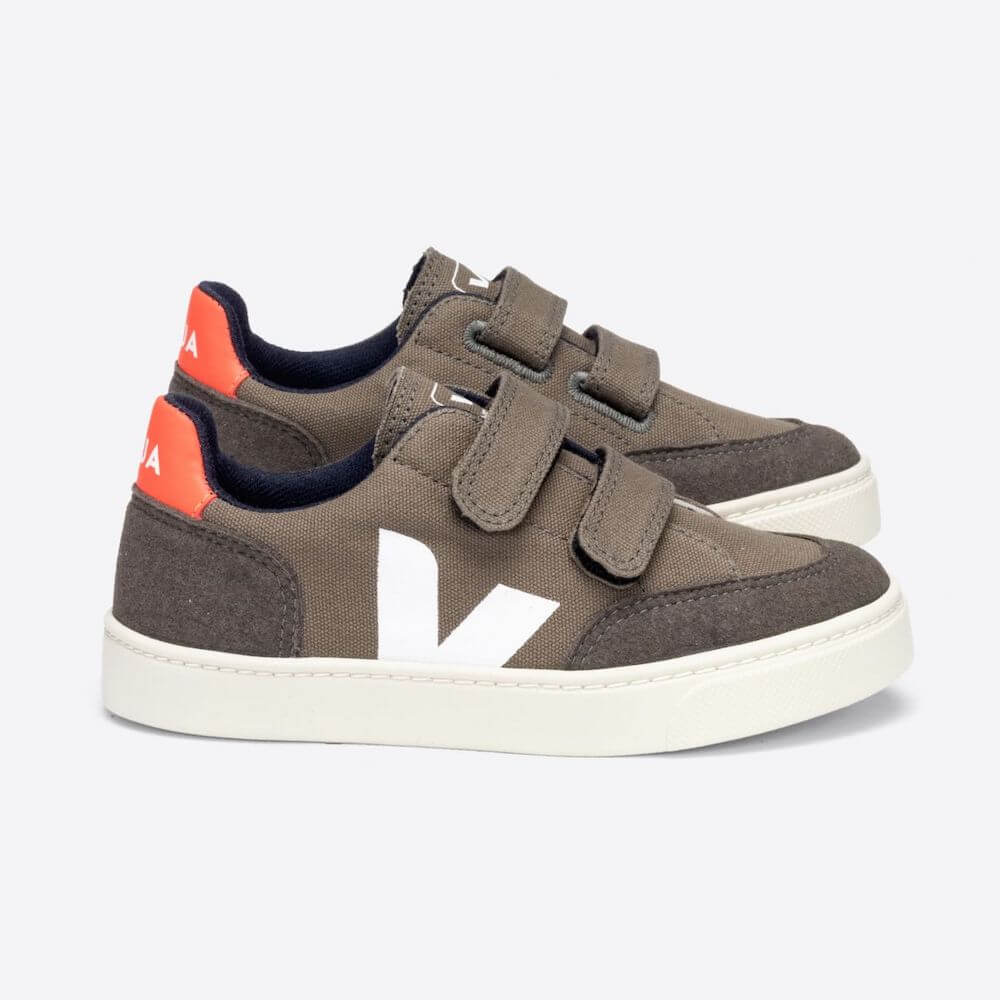 Veja Kids Australia V-12 Velcro Canvas Kaki Pierri Orange | Tiny People Online
