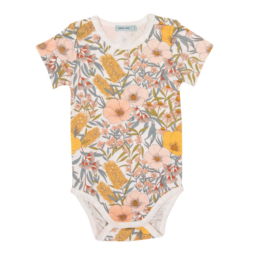 Goldie & Ace Vintage Floral Short Sleeve Bodysuit | Tiny People
