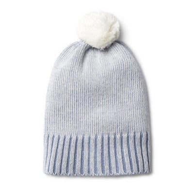 Wilson and Frenchy Knitted Pom Pom Hat - Dusty Blue - Tiny People Cool Kids Clothes Byron Bay