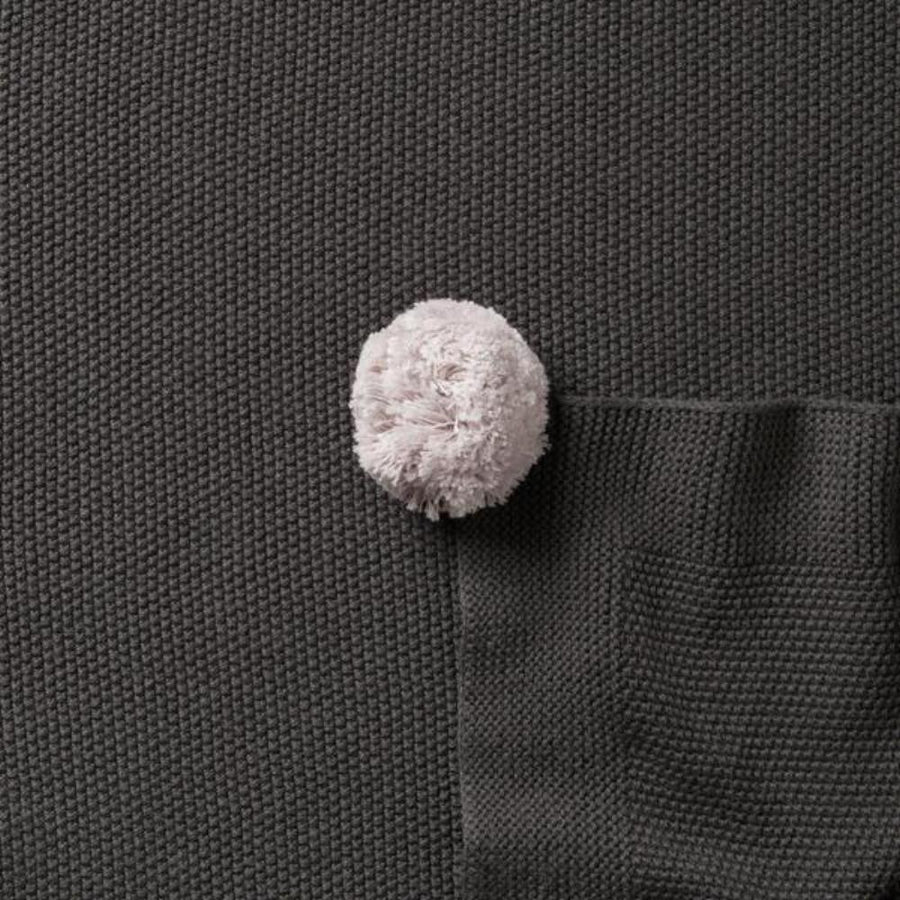 Wilson and Frenchy Knitted Blanket With Pom Poms - Dark Moon - Tiny People Cool Kids Clothes Byron Bay