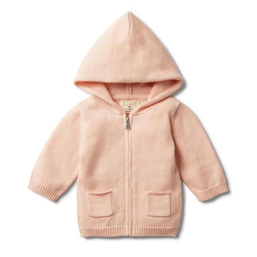 Knitted Zip Through Jacket - Peachy Pink
