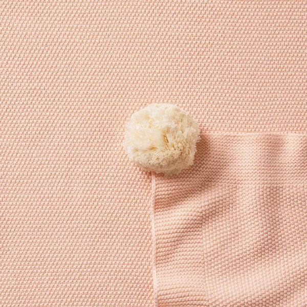 Knitted Blanket With Pom Poms - Peachy Pink