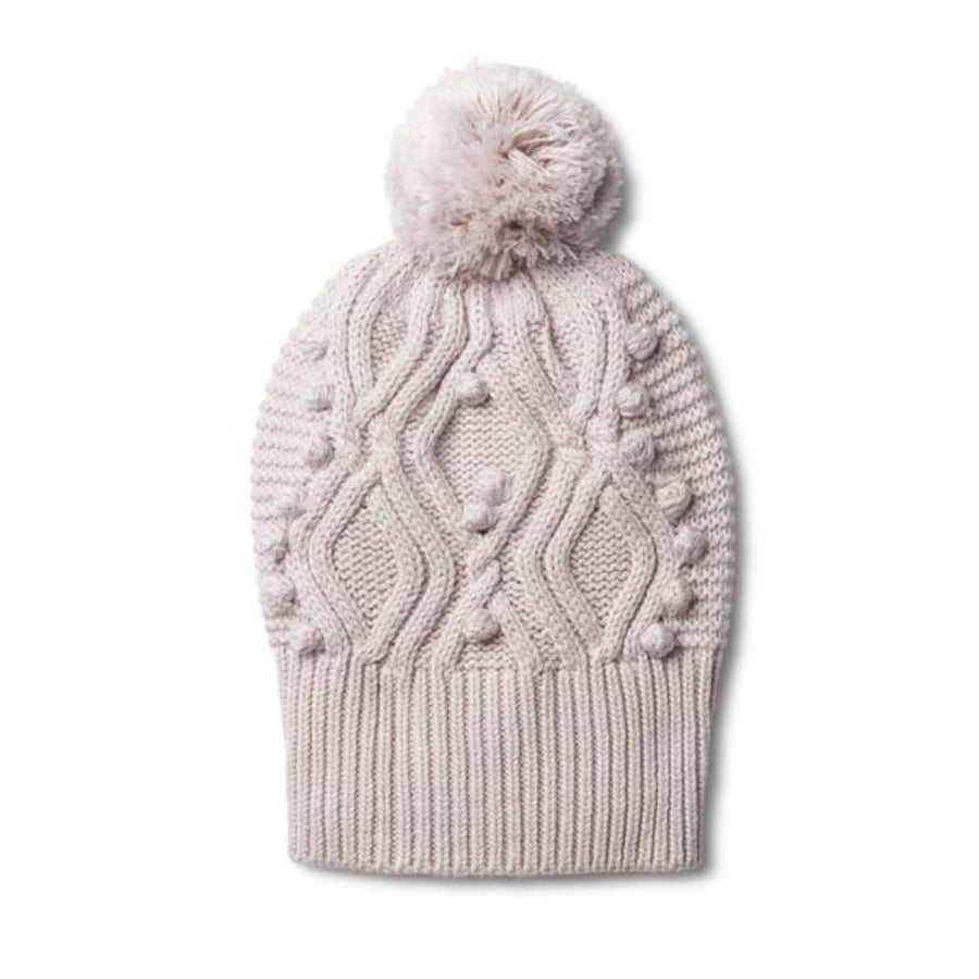 Cable Knitted Pom Pom Hat - Fawn