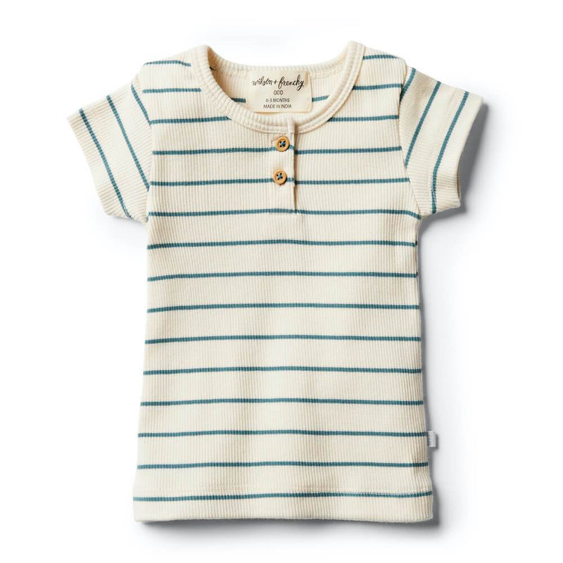 Wilson and Frenchy Jungle Green Stripe Tee Tops - Tiny People Cool Kids Clothes