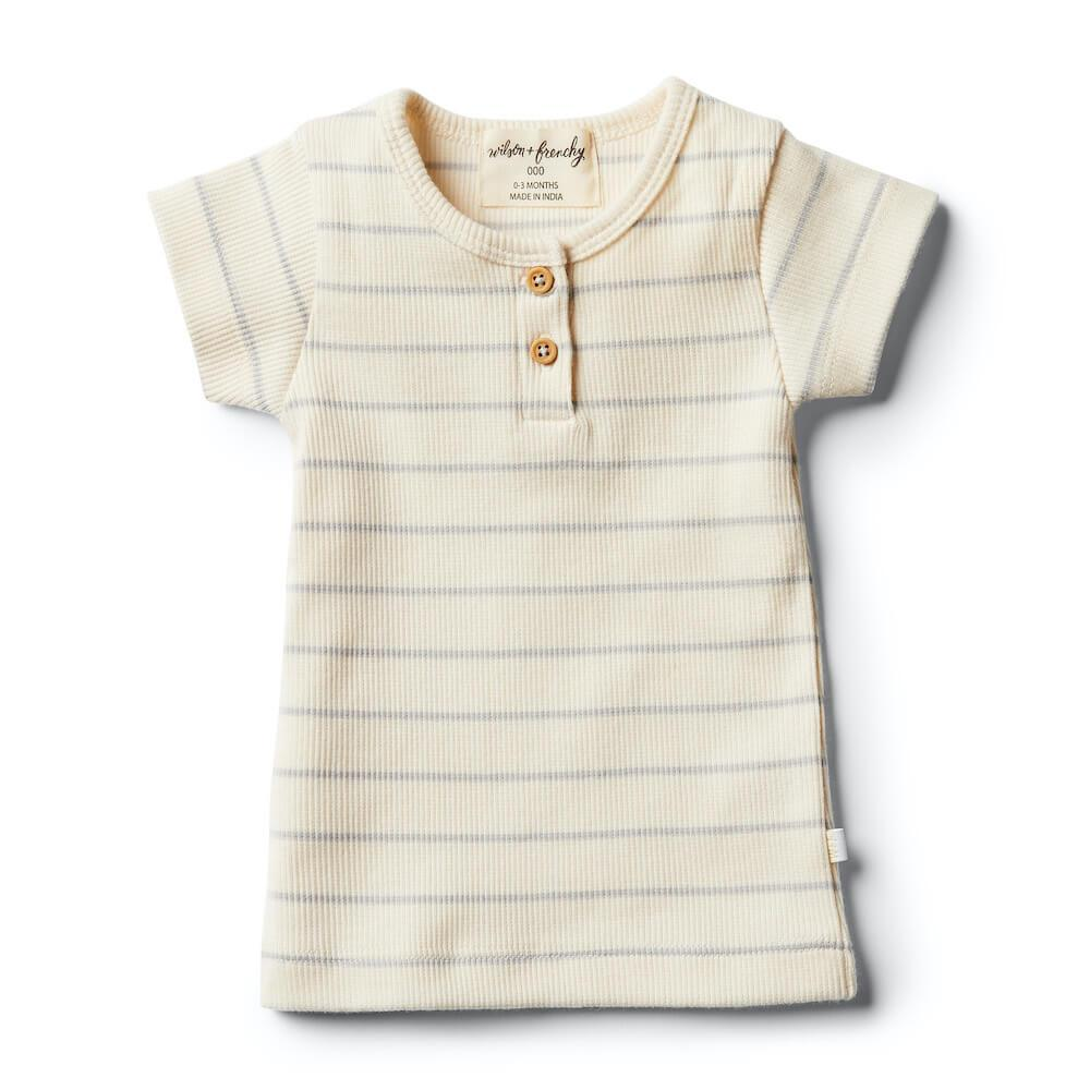 Wilson and Frenchy Glacier Grey Stripe Tee Tops - Tiny People Cool Kids Clothes