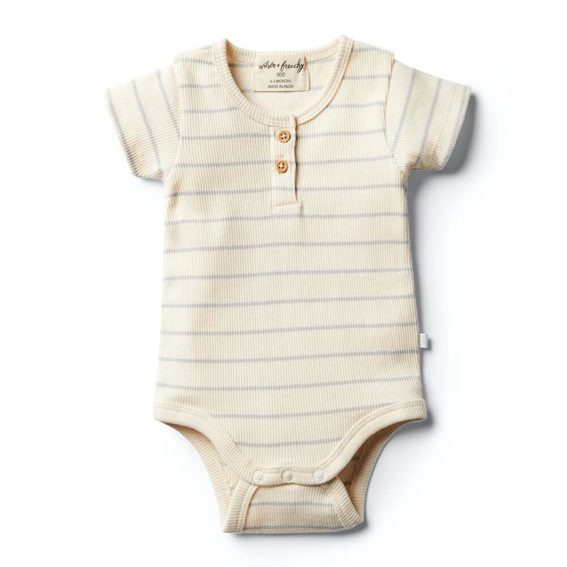 Wilson and Frenchy Glacier Grey Stripe Bodysuit Onesies & Rompers - Tiny People Cool Kids Clothes