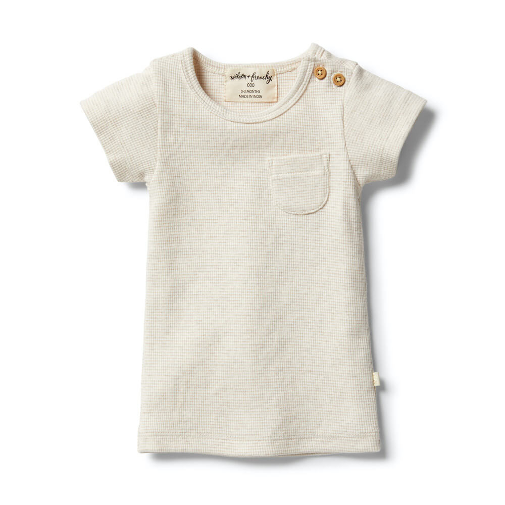 Wilson & Frenchy Organic Stripe Tee Oatmeal Ecru | Tiny People