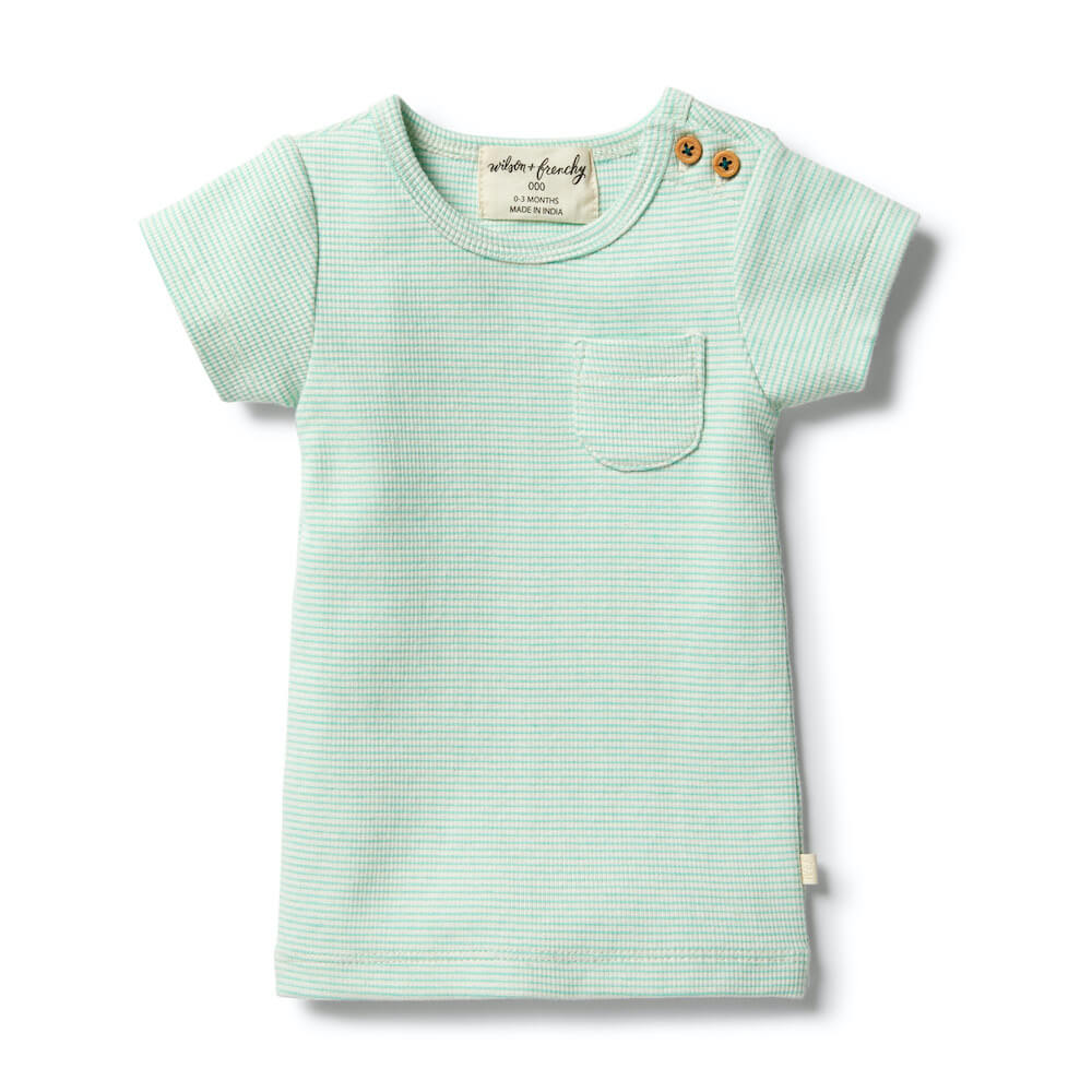 Wilson & Frenchy Organic Stripe Tee Neon Mint | Tiny PeopleWilson & Frenchy Organic Stripe Tee Neon Mint | Tiny People
