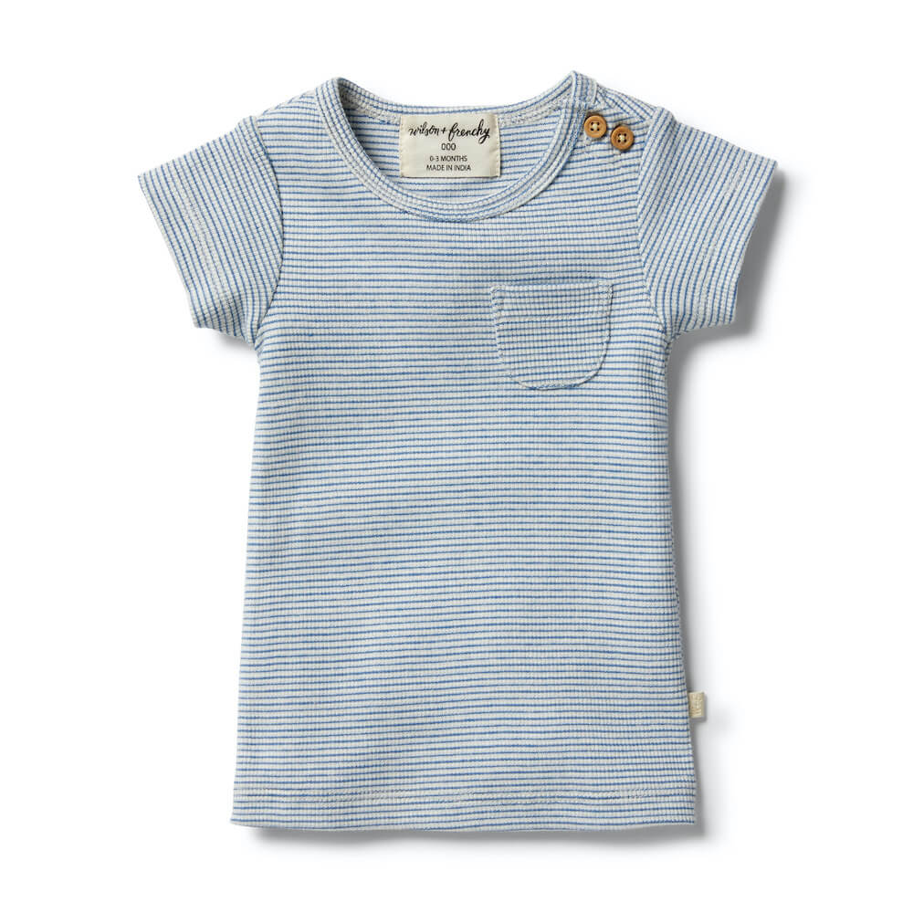 Wilson & Frenchy Organic Stripe Tee Sapphire Ecru | Tiny People