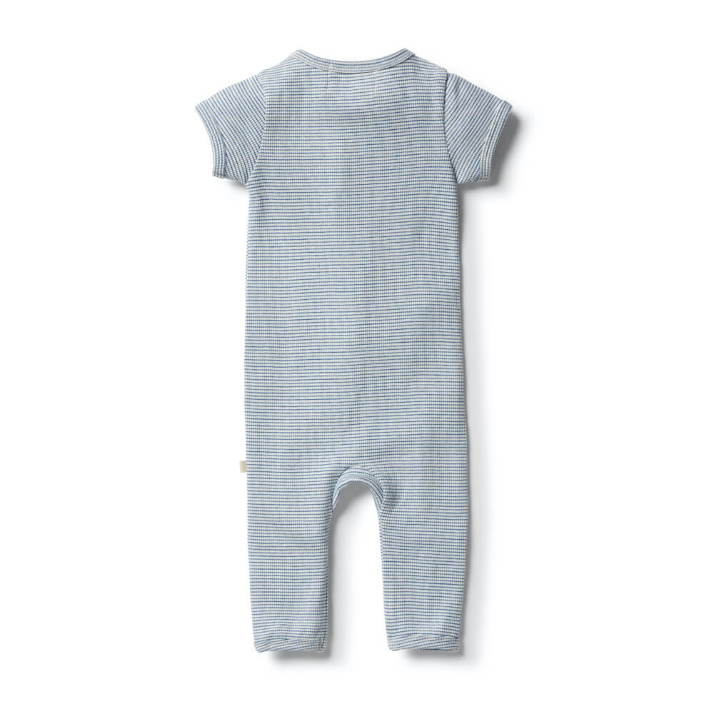 Wilson & Frenchy Organic Stripe Rib Zipsuit Sapphire | Tiny People