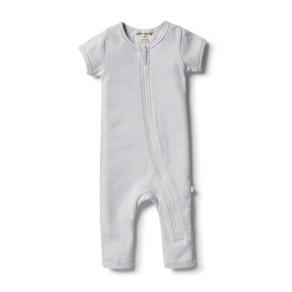 Wilson & Frenchy Organic Stripe Rib Zipsuit Lavender | Tiny People