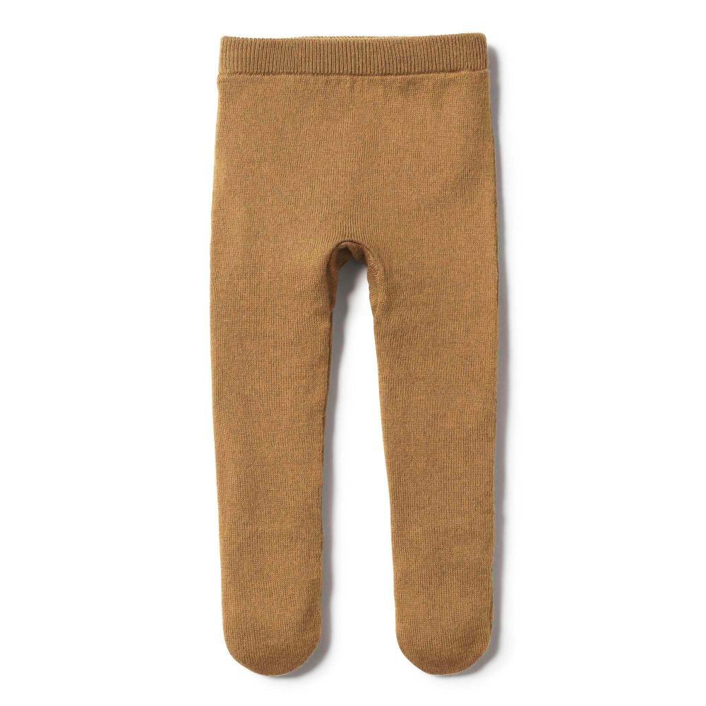 Knitted Legging with Feet Caramel