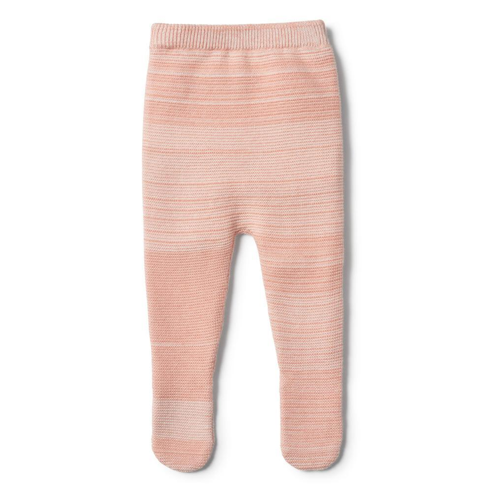 Knitted Legging with Feet Strawberry & Cream