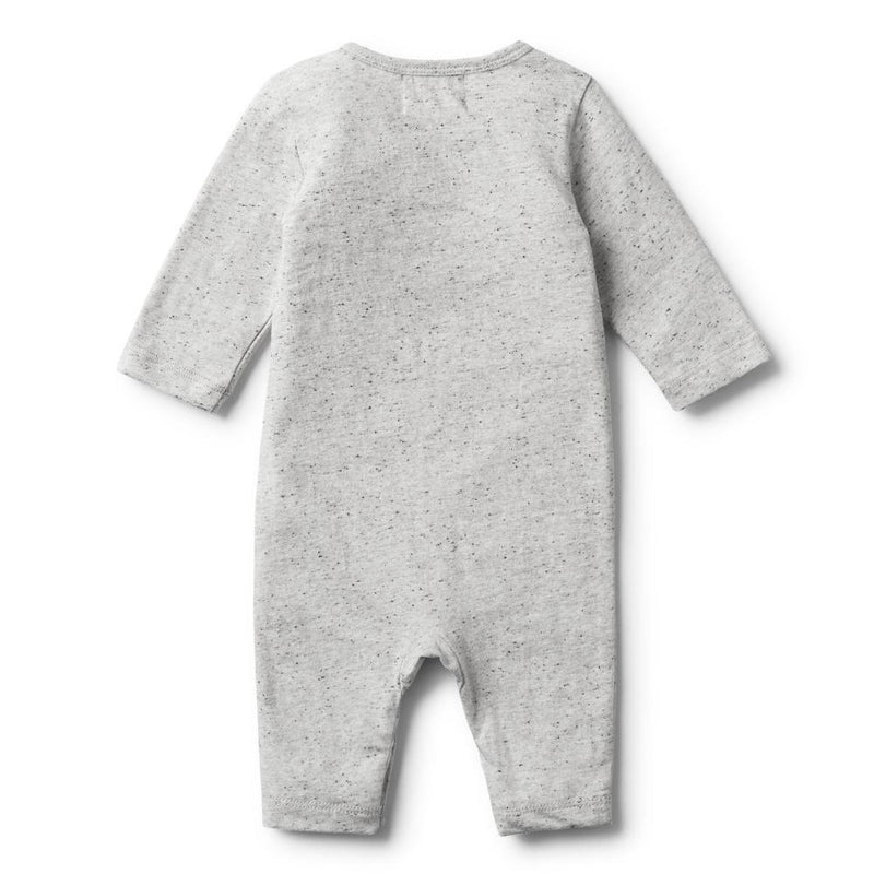 Feather Melange Long Sleeve Growsuit Grey