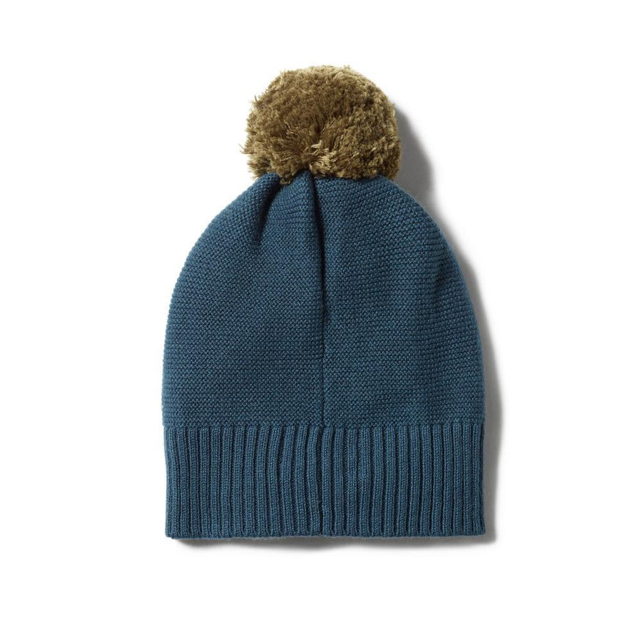Knitted Hat with Pom Pom Steel Blue