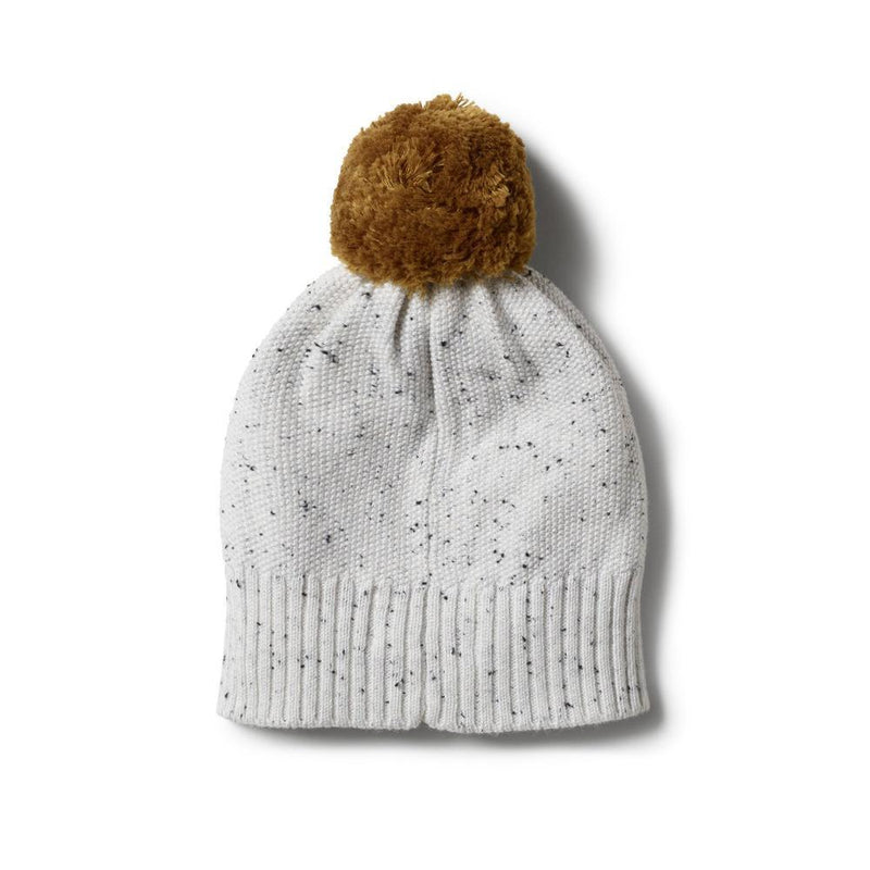 Knitted Hat with Pom Pom Speckle Grey