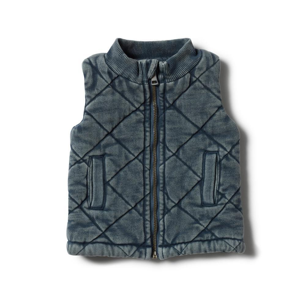 Washed Back Quilted Vest Steele Blue
