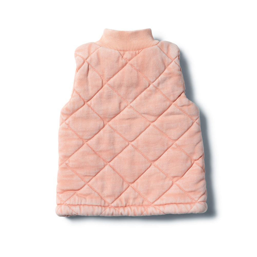 Washed Back Quilted Vest Steele Strawberry