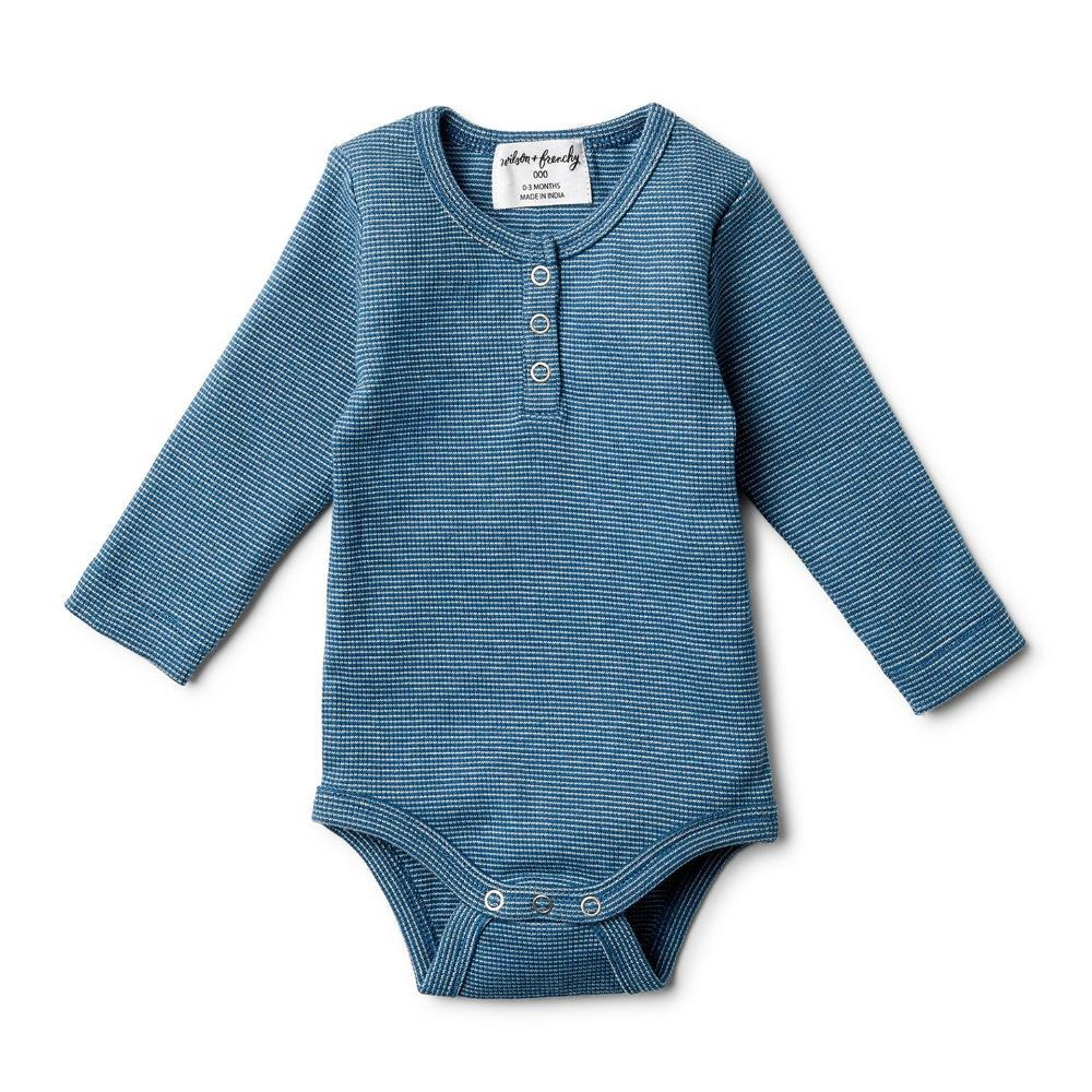 Rib Long Sleeve Bodysuit Ink Blue