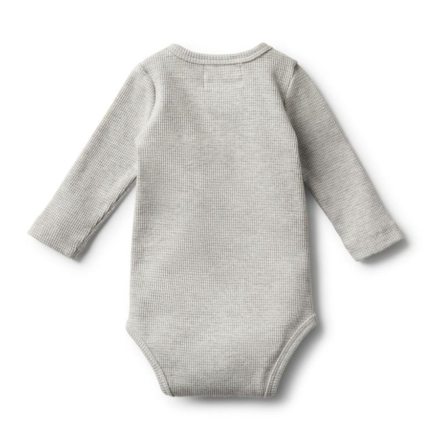 Rib Long Sleeve Bodysuit Grey Marle