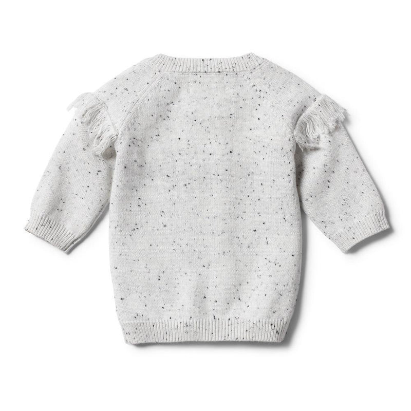 Knitted Jumper with Fringe Speckle Grey