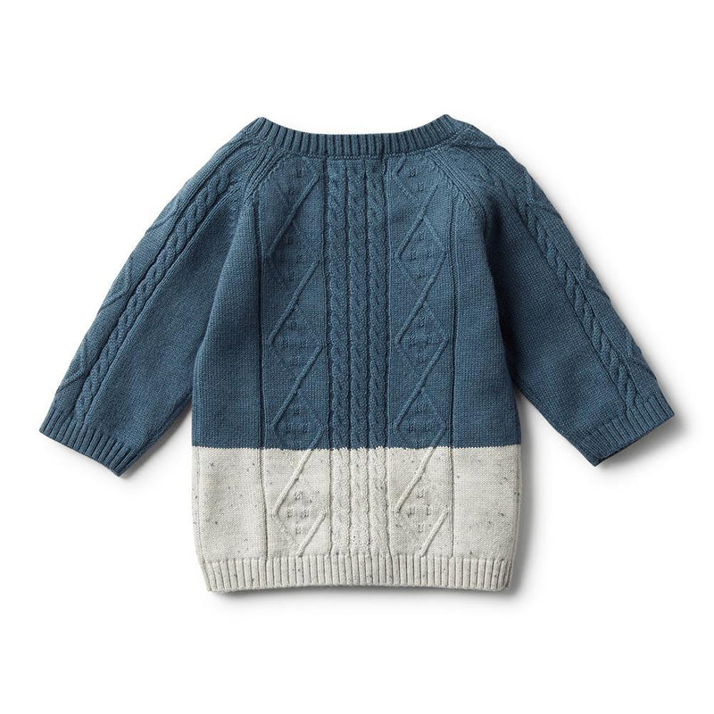 Ecru Dipped Cable Knit Jumper Steel Blue