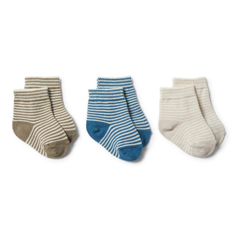 3 Pack Baby Socks Ink Blue, Olive and Eggshell