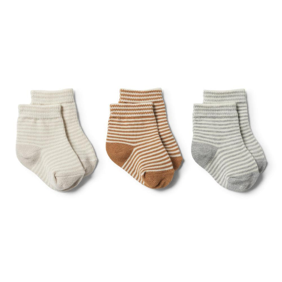 3 Pack Baby Socks Caramel, Grey and Eggshell