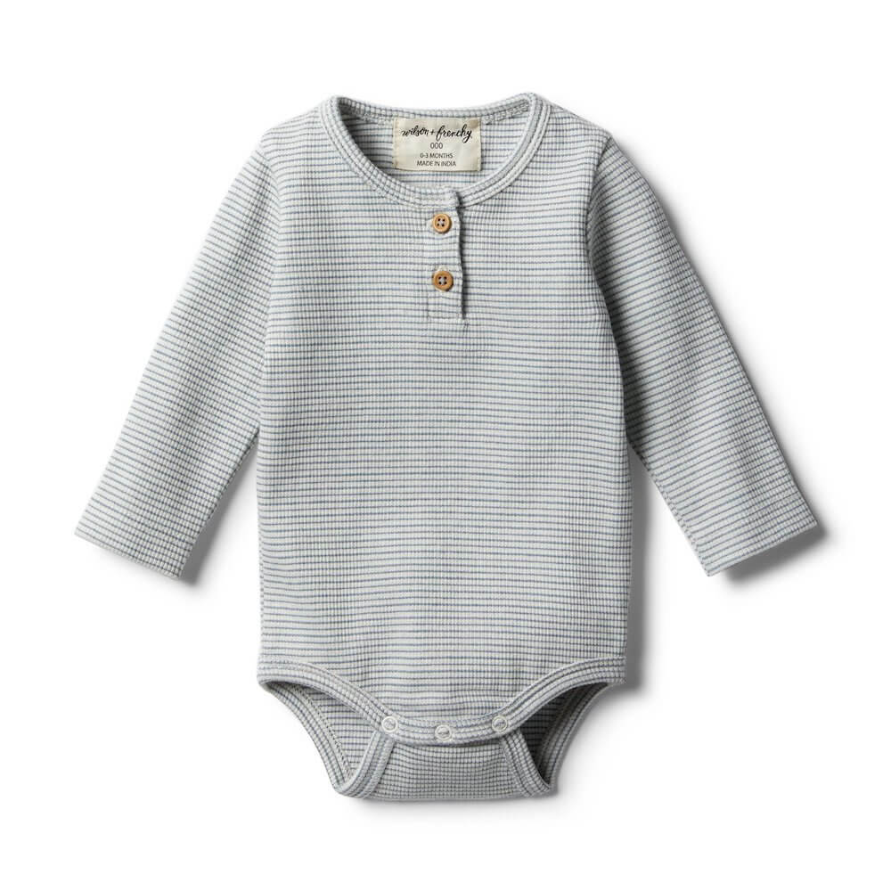 Wilson & Frenchy Organic Faded Denim Bodysuit | Tiny People